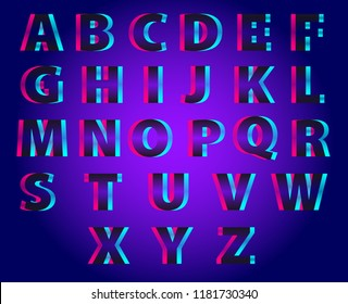 Vector set of outline letters of the alphabet. Font with double exposure. Abstract colorful vector font. The style of Neon Glitch. Abstract colorful type for creative headline, advertising poster.