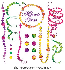 Vector set with outline Mardi Gras beads in green, purple and yellow isolated on white background. Ornate bead in contour style for celebration design. Symbol of Mardi Gras masquerade.