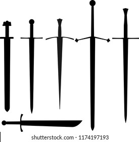 Vector set of outline medieval swords, weapon of knights. In the set carolingian and Romanesque, or Knightly, or Arming sword, falchion, claymore and longsword, or great, or bastard sword.