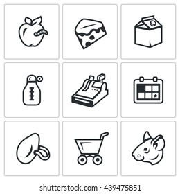Vector Set of Overdue Product Icons. Wormy Apple, Mold Cheese, Yogurt, Storage temperature, trade, shelf life, stench, score, rodent. Spoiled food, dirt, insanitary.