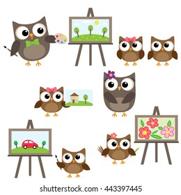 Vector set of owls learning to draw. Drawing lessons