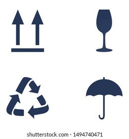 Vector Set of Package Mark Icons. Do not turn over, Fragile, Recycling, Do not Wet.