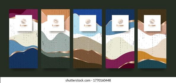 Vektor-Set Verpacken abstrakte Kunst Hintergrund-Vorlagen.Line-Muster im asiatischen Stil mit japanischem Muster.