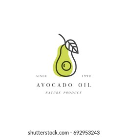 Vector set of packaging design element and icon in linear style - avocado oil - healthy vegan food. Logo sign