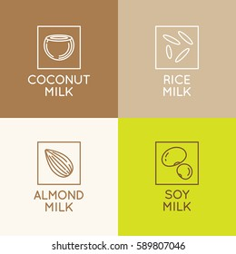 Vector set of packaging design elements and icons in linear style - almond, coconut, rice and soy milk - healthy vegan drinks