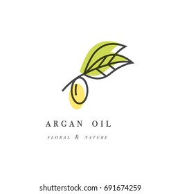 Vector set of packaging design template and emblem - beauty and cosmetics oil - argan. Logo in trendy linear style