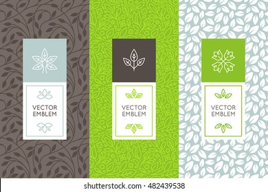 Vector set of packaging design templates, seamless patterns and frames with copy space for text for cosmetics, beauty products, organic and healthy food with leaves and flowers - modern ornaments