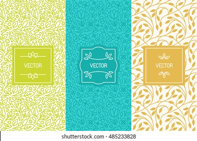Vector set of packaging design templates, seamless patterns and frames with copy space for text for cosmetics, beauty products, organic and healthy food with green leaves - modern ornaments