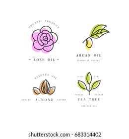 Vector set of packaging design templates and emblems and badges. Beauty and cosmetics oils - argan, rose, almond and tea tree. Logos in trendy linear style