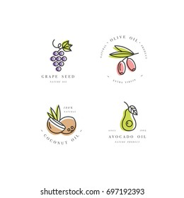 Vector set of packaging design templates and emblems in linear style - beauty and cosmetics oils - coconut, avocado, olive and grape seed