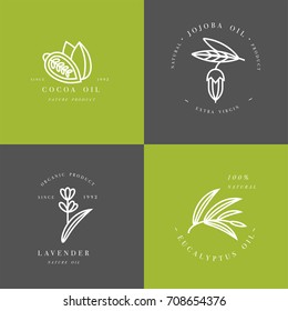 Vector set of packaging design templates and emblems - beauty and cosmetics oils - cocoa, lavender, jojoba and eucalyptus. Logos in trendy linear style