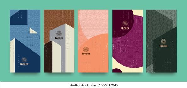 Vector set Packaging Templates japanisch von Natur Luxus oder Premium-Produkte.Logo Design mit trendy linearem style.voucher, flyer, brochure.Menu Buchcover japan Stil Vektorgrafik.