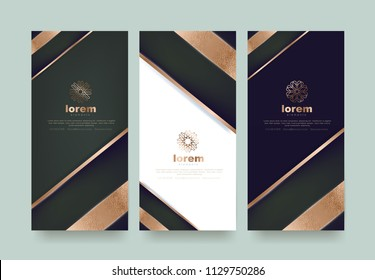 Vector set packaging templates  luxury or premium products.logo design with trendy linear style.voucher discount flyer brochure.book cover vector illustration.greeting card background.