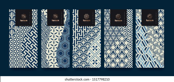 Vector set packaging templates.Line pattern in Asian style with Japanese pattern.