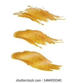 Vector set of paint gold  brushstrokes or splashes. Abstract curly gold acrylic  stains and spots. For cards, invitations, fabrics, wallpapers, template for design and decoration.
