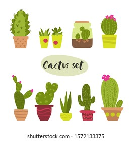 Vector set of painted colorful cute blooming cacti in ceramic pots. Flat graphic style. Beautiful design elements. Can be used for cards, prints, icons. Isolated.