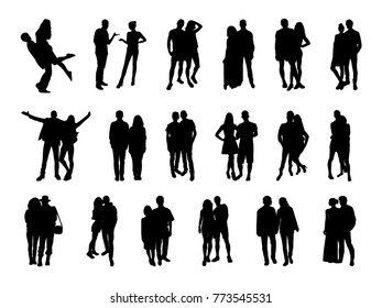 Vector set of pairs silhouettes