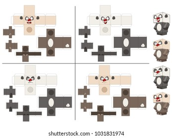 Vector Set of Panda Cubes. Toy for assemblage