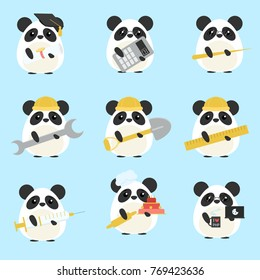 Vector set of pandas various professions: Scientist, accountant, teacher, engineer, worker, builder, doctor, baker, programmer. Cute cartoon illustration