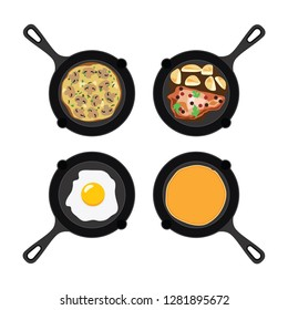 vector set of pans with pancake, fried egg, omelet with mushrooms and fried meat with potatoes. collection of breakfast, dinner and supper flat icons isolated on white background.