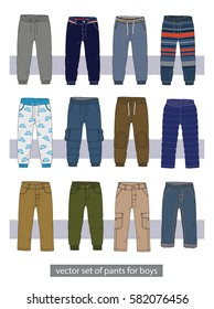 vector set of pants for boys