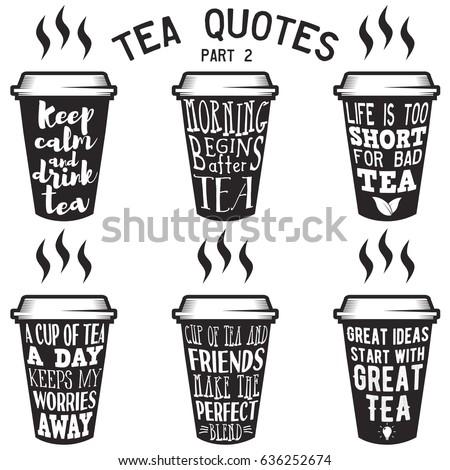 Tea Quotes | Vector Set Paper Cups Tea Quotes Stock Vektorgrafik Lizenzfrei
