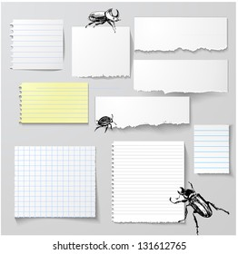Vector set of paper objects with bugs for your design