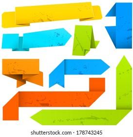 Vector set of paper ribbons.