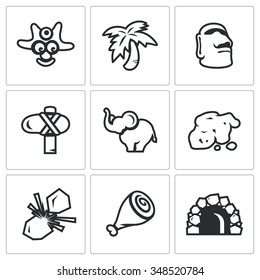 Vector Set of Papuan Icons. Savage, Tropical, Idolatry, Tool, Animal, Gold, Fire, Food, House. Aborigine, Palm, Idol, Weapon, Elephant, Ore, Flint, Meat, Cave.