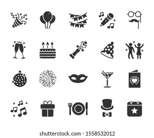 Vector set of party flat icons. Contains icons of firework, cake, karaoke, masquerade, champagne and more. Pixel perfect, scalable 24, 48, 96 pixels.