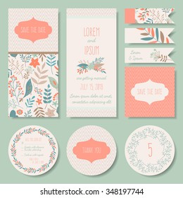 Vector set of pastel tender wedding, baby shower invitation, congratulation cards. Save the date / invitation, Thank you / RSVP, table number, tags, labels
