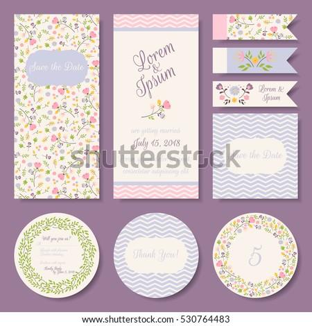Vector Set Pastel Tender Wedding Baby Stock Vector Royalty Free