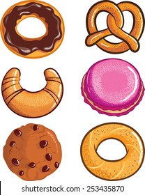 Vector Set of pastry isolated on white background