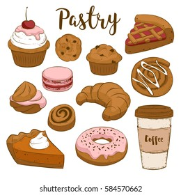 Vector set with pasty goods. Baked tasty food and coffee. Cupcake, pie, cinnamon roll, bun, croissant, muffin, cookie