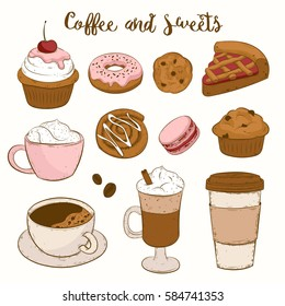 Vector set with pasty goods illustrations. Tasty food and coffee. Cupcake, pie, cinnamon roll, bun, croissant, muffin, cookie