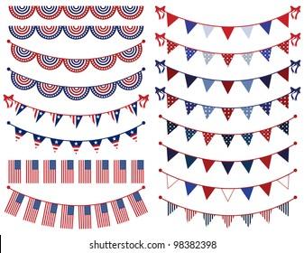 Vector Set of Patriotic Bunting