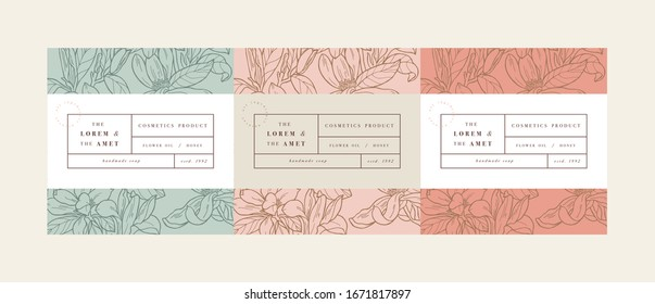 Vector set pattens for cosmetics with label template design. Patterns or wrapping paper for package and beauty salons. Magnolia flowers. Organic, natural cosmetic