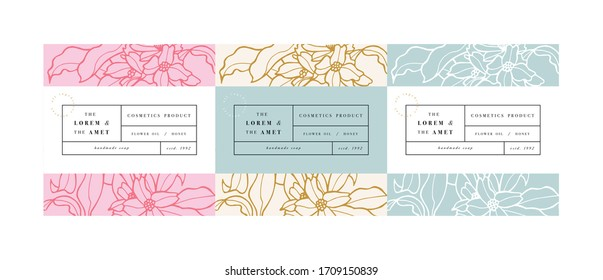 Vector set pattens for cosmetics with label template design. Patterns or wrapping paper for package and beauty salons. Jasmine flowers. Organic, natural cosmetic