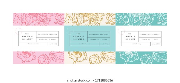 Vector set pattens for cosmetics with label template design. Patterns or wrapping paper for package and beauty salons. Lotus flowers. Organic, natural cosmetic