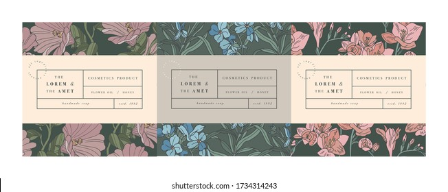 Vector set pattens for cosmetics with label template design. Patterns or wrapping paper for package and beauty salons. Mallow, forget me not and freesia flowers. Organic, natural cosmetic