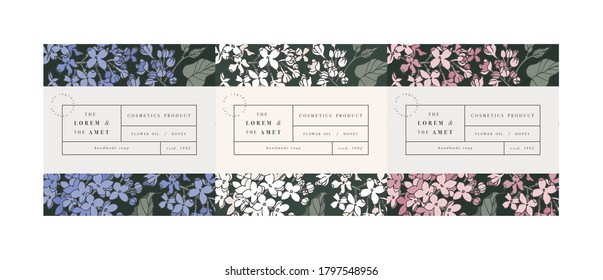 Vector set pattens for cosmetics with label template design. Patterns or wrapping paper for package and beauty salons. Lilac flowers. Organic, natural cosmetic