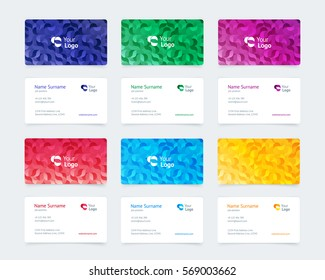 Vector set pattern vintage business card with a pastel pattern of waves, beauty, food, business, health, services. Simple and clean design with a logo. Creative layout corporate identity.