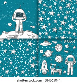 Vector set of patterns and illustrations of different objects in space style.