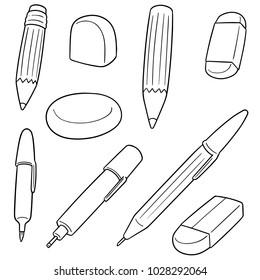 vector set of pen, pencil, eraser