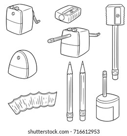 vector set of pencil sharpener