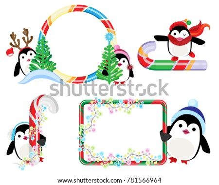 Vector Set Penguins Frames Candy Canes Stock Vector (Royalty Free ...