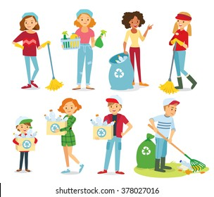 Vector set of people cleaning, gathering plastic for recycling