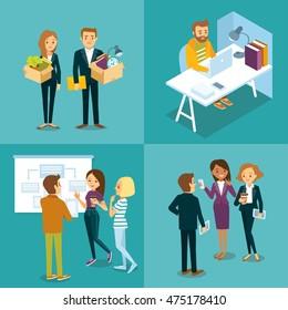 vector set of people in coworking space