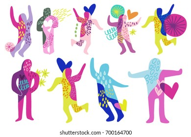 Vector set of people dancing illustrations.