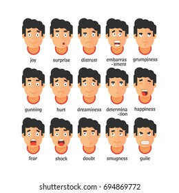Vector set of people expressing facial emotions isolated on white background. Happy and depressed male faces. Flat design illustrations. Geometric people.